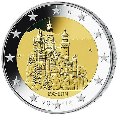 2012 Germany 2 Euro UNC Coin Bavaria - Neuschwanstein Castle - Munich (D)