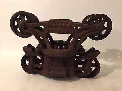 Antique Cast Iron F E Myers Barn Hay Trolley Pulley Sheave Carrier Unloader COOL