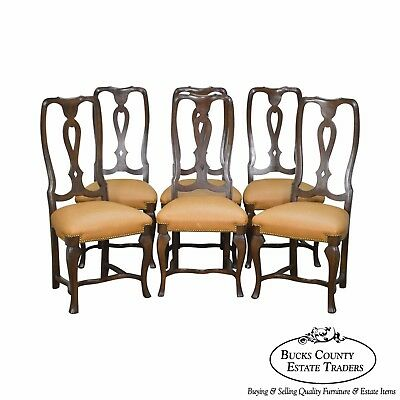 Italian Walnut Set of 6 Woven Leather Seat Dining Chairs