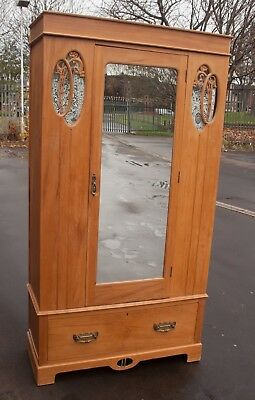 Vintage Pine Wardrobe with Drawers and Hanging Space. Mirrored