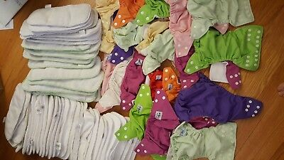 Lot of 21 FuzziBunz Elite Cloth Diapers and 55 Assorted Inserts