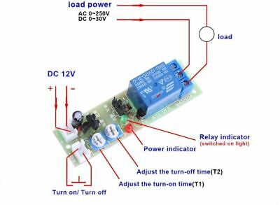 12V DC Infinite Loop Cycle Timing Timer Time Delay Relay ON OFF Module 1S-15Min