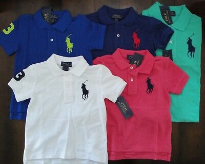 NWT Ralph Lauren Toddler Boys S/S Big Pony Solid Mesh Polo Shirt 2t 3t 4t NEW