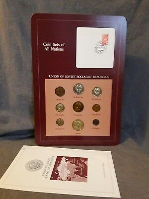 Coin Sets of All Nations UNION OF SOVIET SOCIALIST REPUBLICS 9 coin set &stamp,