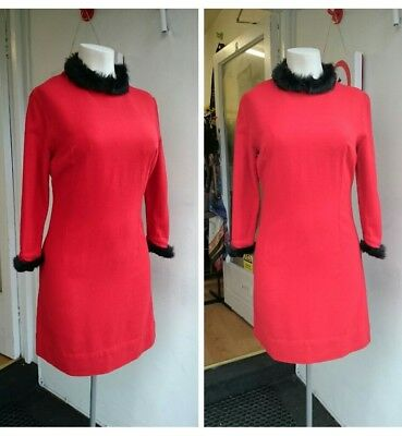 Original Vintage 1960s 60s Red Dress with black faux fur cuffs size 14