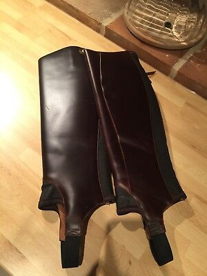 Excellent Ariat Close Contact Leather Chaps / Gaiters Brown Size S