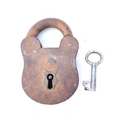 Original 1900's Old Vintage Antique Handcrafted Big Heavy Strong Iron Lock , Key