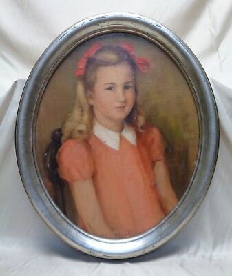 "Bertha T. Coler Vintage ""Blonde Girl"" Portrait Oil Painting on Canvas Panel"