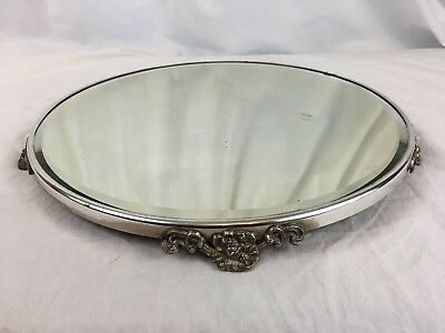 Large Silveplate & Beveled Mirror Glass Plateau Circa 1920, Floral Feet