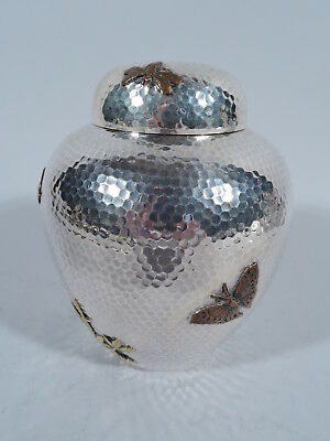 Dominick & Haff Tea Caddy - American Hand Hammered Sterling Silver & Mixed Media