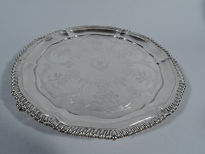 Regency Salver - Antique Georgian Tray - English Sterling Silver - Sibley - 1835