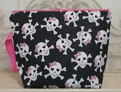 Handmade Black Pink Glitter Skull Knitting and Crochet Project Bag