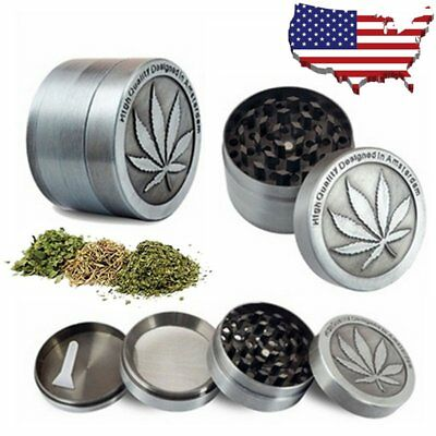 4 Piece Tobacco Grinder Zinc Alloy Herb Spice Smoke Herbal Muller Crusher gray