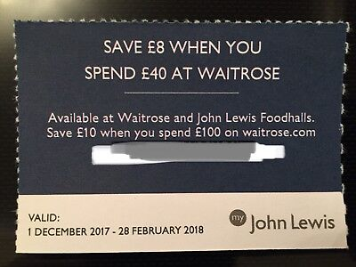 Waitrose / John Lewis Foodhalls Voucher / Coupon - Save £8 When You Spend £40