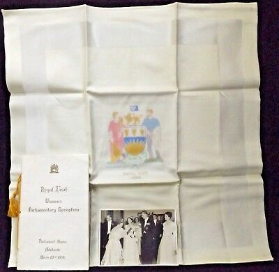 Royal Visit 1954 Women's Parliamentary Reception Adelaide Photo Qe11 Menu Napkin