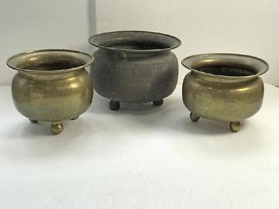 A group of 3 antique Russian hammered brass planters