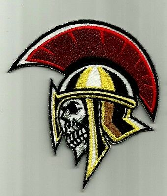 """trojan Skull"" Iron On Biker Patch Harley Davidson Honda Rockabilly Hog"