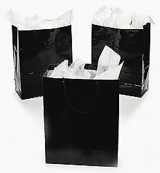 Fun Express Large Black Party Gift Bags - 12 Pieces