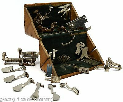 """Antique SINGER SEWING MACHINE PARTS Lot of 15 in """"PAT 1889"""" WOOD PUZZLE BOX Rare"""
