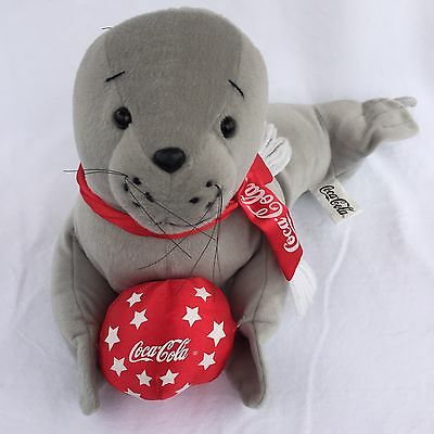 """Coca Cola Seal Plush Holding Red Ball with Scarf Coke Stuffed Animal Toy 14"""""""