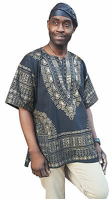 Black and Gold African Print Dashiki Shirt from Small to 7XL Plus Size DP3764M