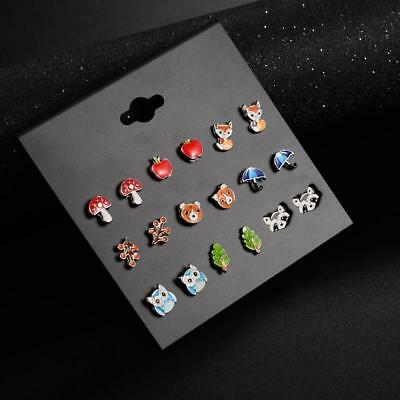9 Pairs lot Cute Resin Small Animal Fox Frog Bear Owl Stud Earrings Girls women