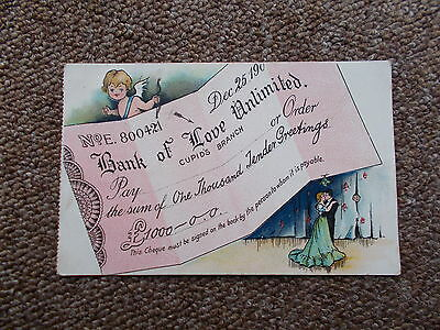 """1904  COMIC/SEASIDE POSTCARD"""" bank of love"""" - USED +STAMPED-POSTED 1904"""