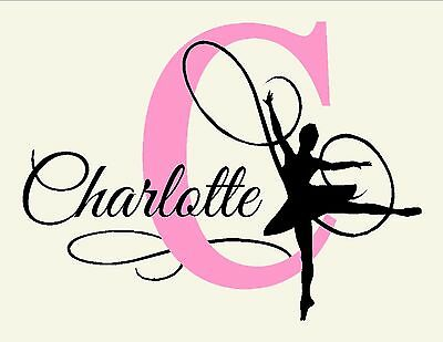 Personalized w/ your choice Name Ballerina Ballet Dance Girl's Vinyl Wall Decal