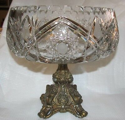 Gorgeous Vintage Heavy Cut Crystal Centerpiece Bowl Brass Tone Pedestal Glass