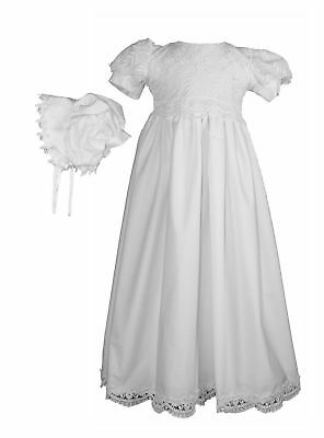 White Daisy Embroidered Cotton Christening Baptism Gown 0-3 Month