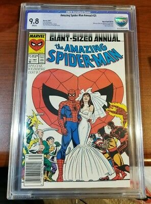 Marvel Amazing Spider-Man Annual #21 1987 Cbcs 9.8 White Pages Newsstand Wedding