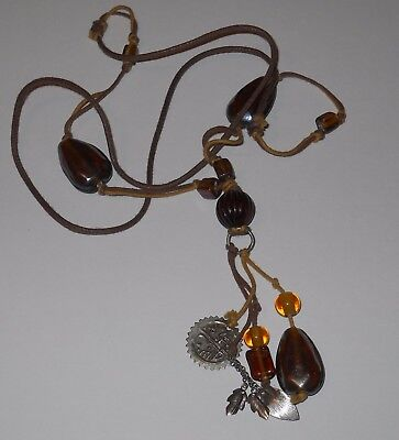 Vintage glass beads browns long necklace jewelry #6308