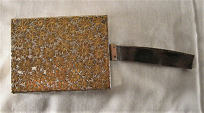 Vintage two sided metal cigarette case and makeup case with metal strap