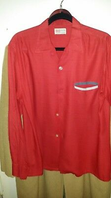 "1950s red rayon BVD shirt with ""hidden"" pocket, Large, nice condition"