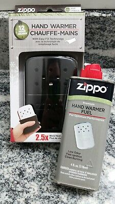 New Zippo black matte 12 hour hand warmer & Premium Fluid Gift Set Combo
