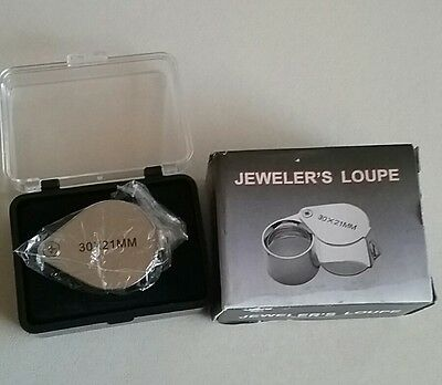 Triplet metal magnifyer loupe 30x 21mm in case.