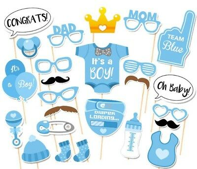 25pcs Photo Booth Props for Baby Shower with Diaper Glasses Boy Version Gift