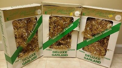 lot of 3Italian Vintage Christmas 1970s  Tinsel Garland 18 yards  Gold in box