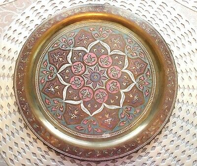 India Brass Wall Plate Etched Art Vintage Decorative Metal Ornate Colorful