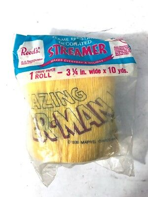 VINTAGE 1978 REED'S THE AMAZING SPIDERMAN CREPE PAPER ROLL 3 1/4 IN.x10 YDS. NOS