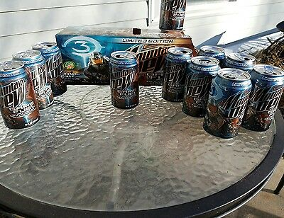 Lot of 10 -HALO 3 Mountain Dew GAME FUEL LIMITED EDITION Empty Cans & carton