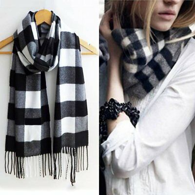Women Men Winter Solid Plaid Long Wool Warm Scarf Wrap Shawl Cashmere Tassels