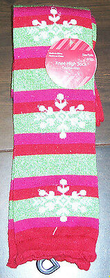Christmas Socks size 4-10 Glitter Snowflakes Red And Green Holiday
