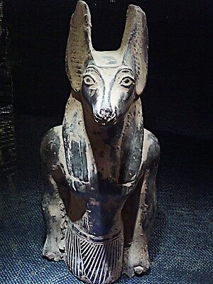 ANCIENT EGYPTIAN ANTIQUE Anubis God Deity Jackal Dog Figure Statue 2686-2181 BC