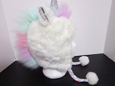 New Justice Girls Faux Fur Multi Color Unicorn Lined Trapper Hat