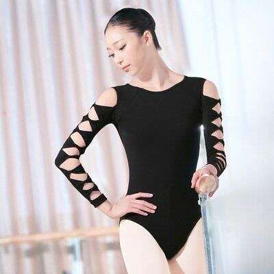 Women Gymnastic Ballet Dance Leotard Long Sleeve Bodysuit Dancewear Open Back