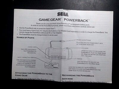 Gamegear Powerback Sega Game Gear Instruction Manual Booklet ONLY