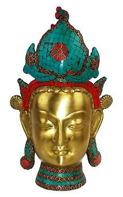 Beautiful Bronze Tara Head Statue w Stone Mosaic Protection & Compassion 3.5 Kg