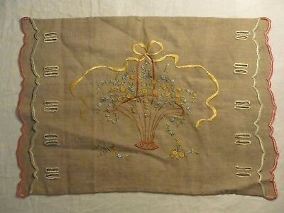 Antique Arts & Crafts Embroidered Linen Pillow Cover / Sham; Flower Basket