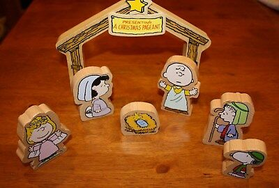 Wooden Nativity scene featuring the Peanuts characters, made in 2013